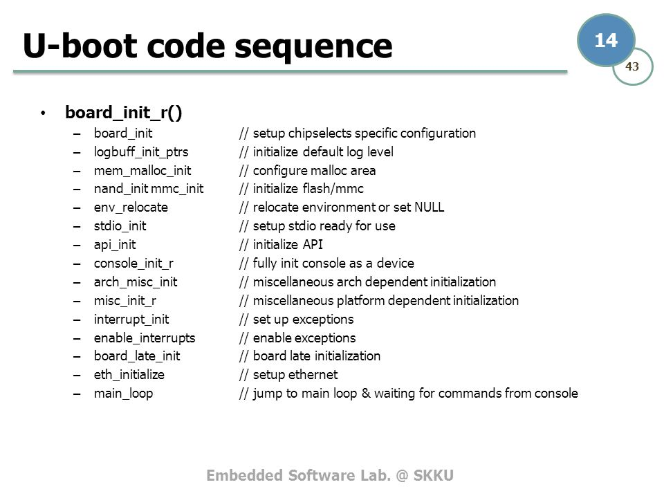 U-boot code sequence board_init_r()