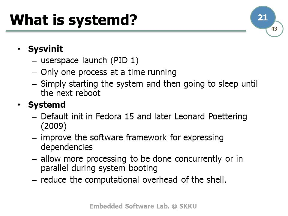 What is systemd Sysvinit userspace launch (PID 1)