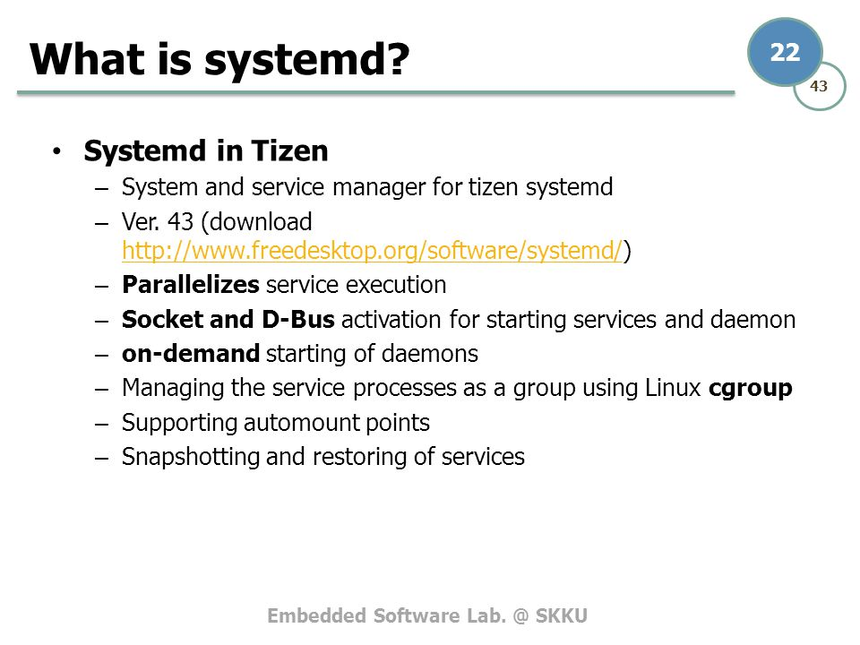 What is systemd Systemd in Tizen