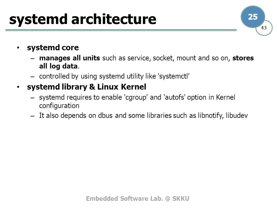 systemd architecture systemd core systemd library & Linux Kernel