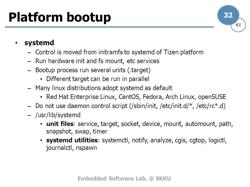 Platform bootup systemd