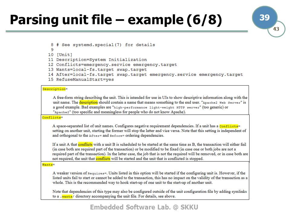 Parsing unit file – example (6/8)