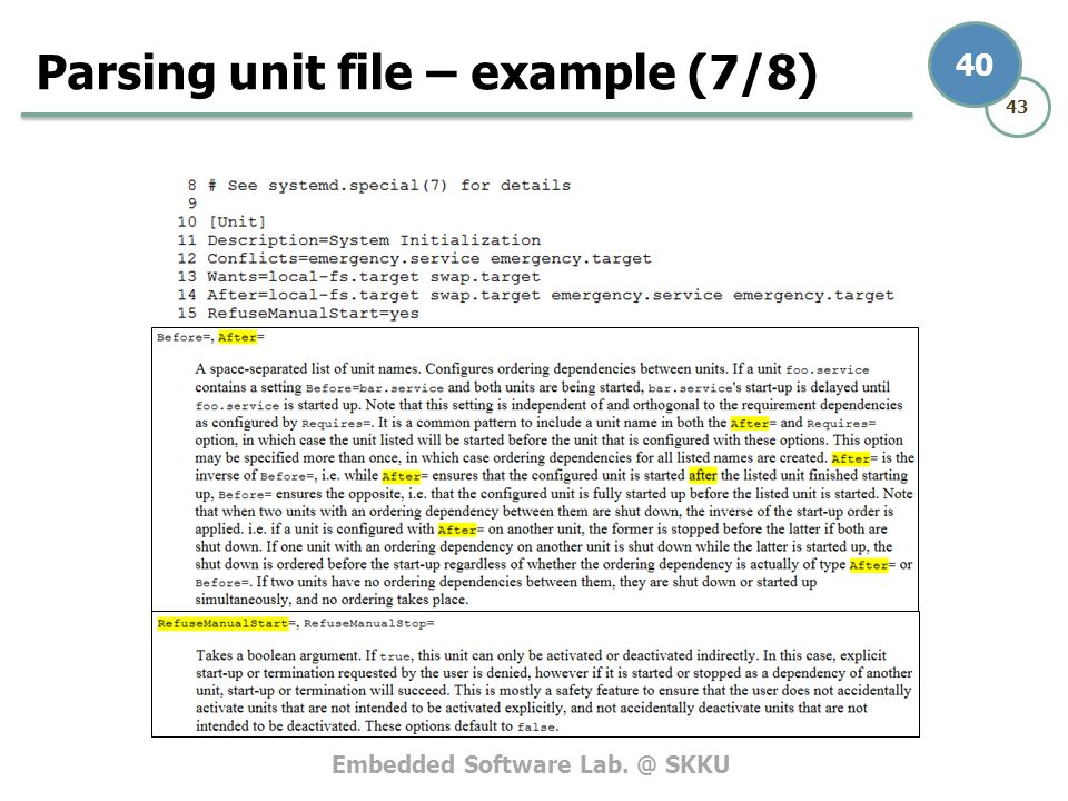 Parsing unit file – example (7/8)