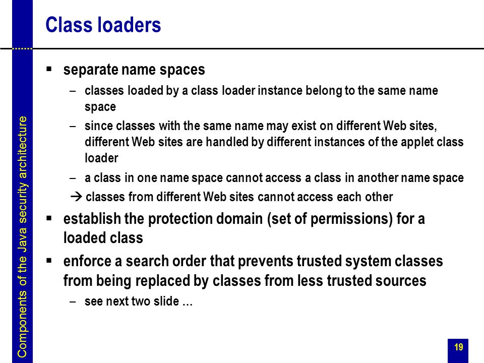 Class loaders separate name spaces