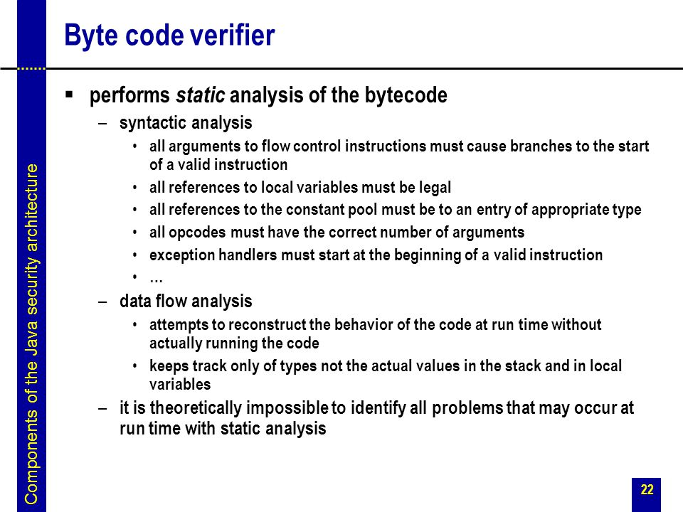 Byte code verifier performs static analysis of the bytecode