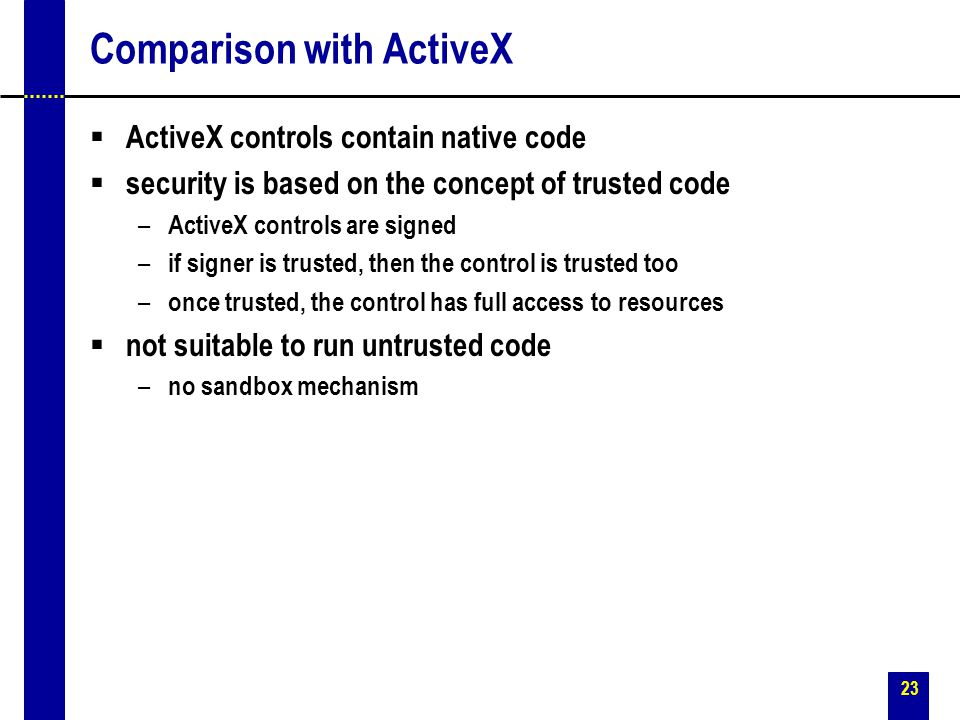 Comparison with ActiveX