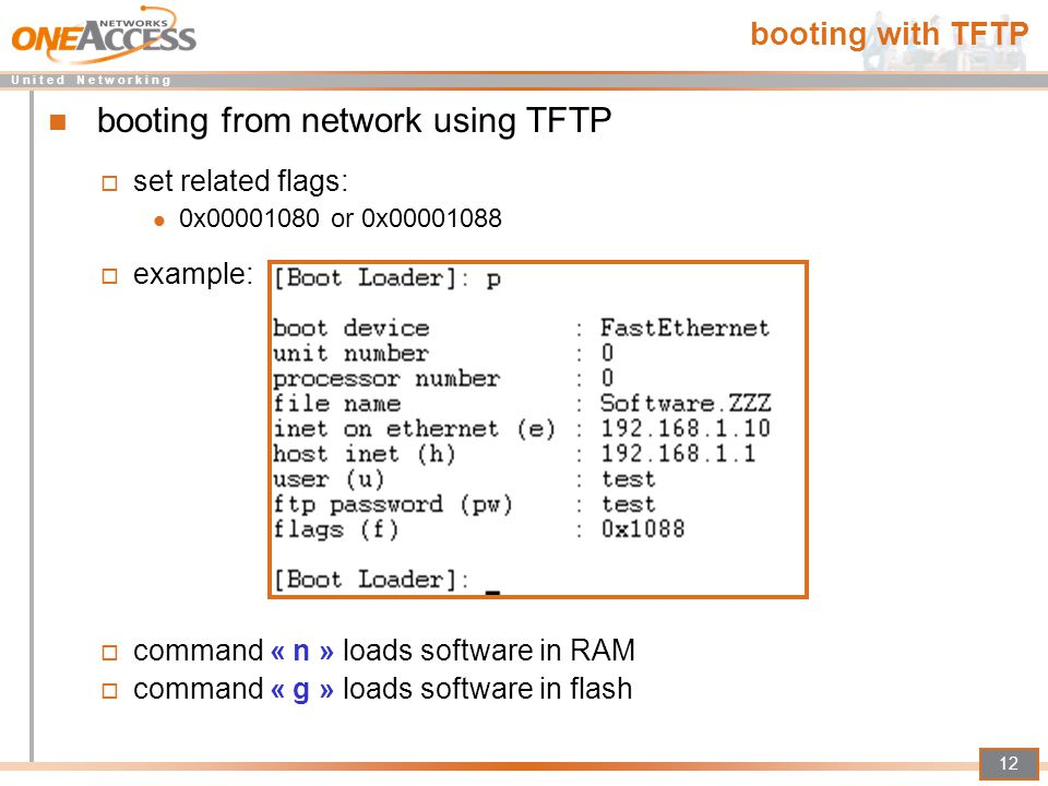 booting from network using TFTP