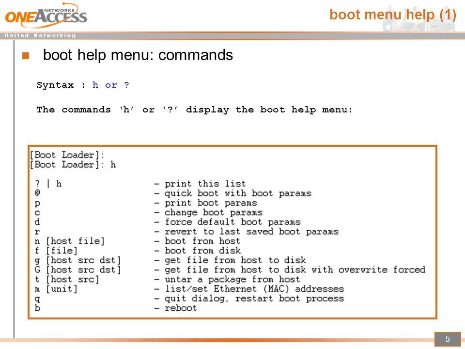 boot help menu: commands