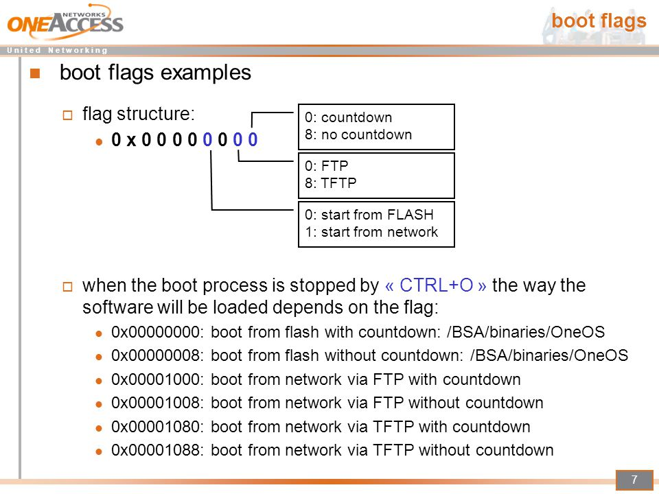 boot flags examples boot flags flag structure: 0 x 0 0 0 0 0 0 0 0