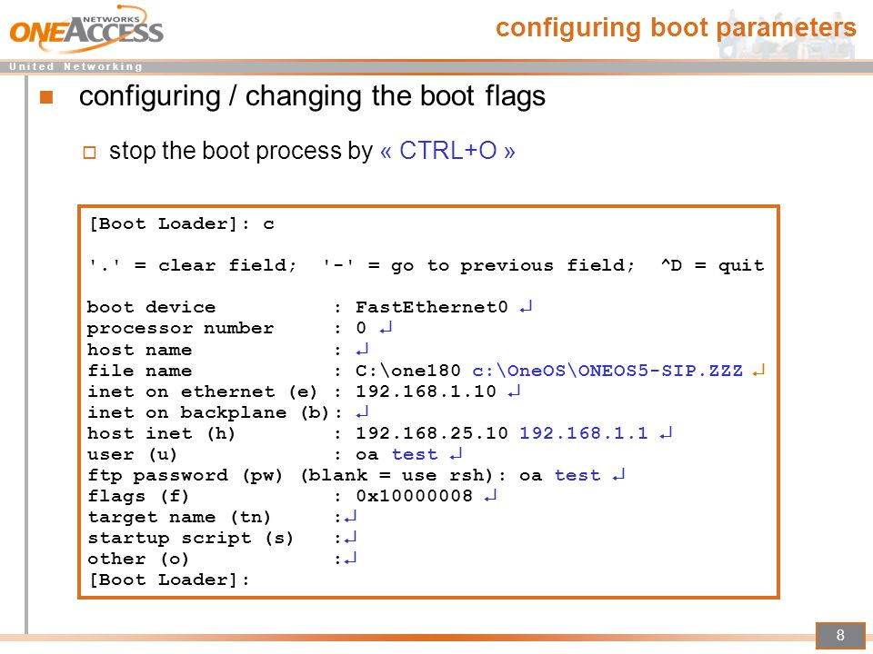 configuring boot parameters