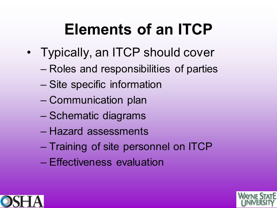Elements of an ITCP Typically, an ITCP should cover
