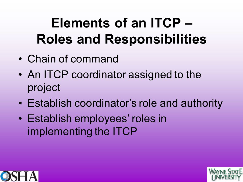 Elements of an ITCP – Roles and Responsibilities