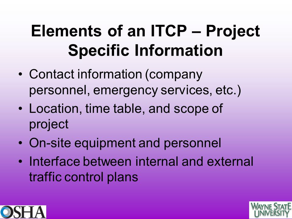 Elements of an ITCP – Project Specific Information