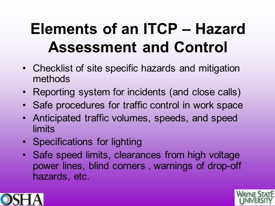 Elements of an ITCP – Hazard Assessment and Control