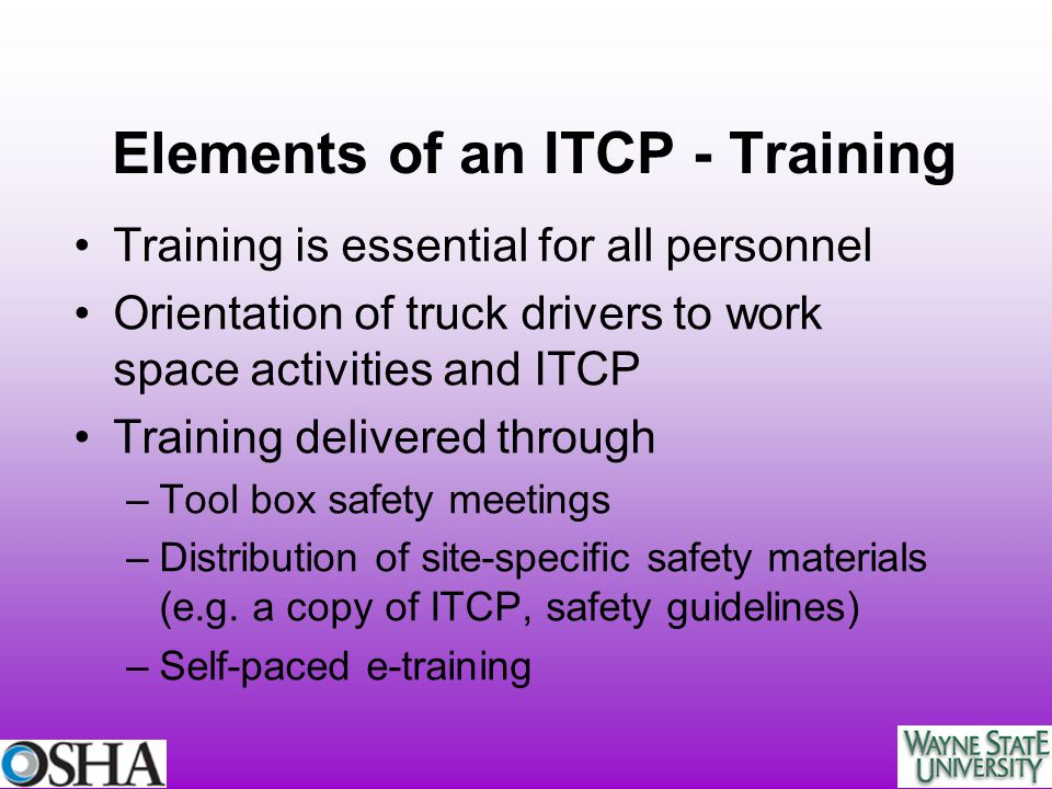 Elements of an ITCP - Training