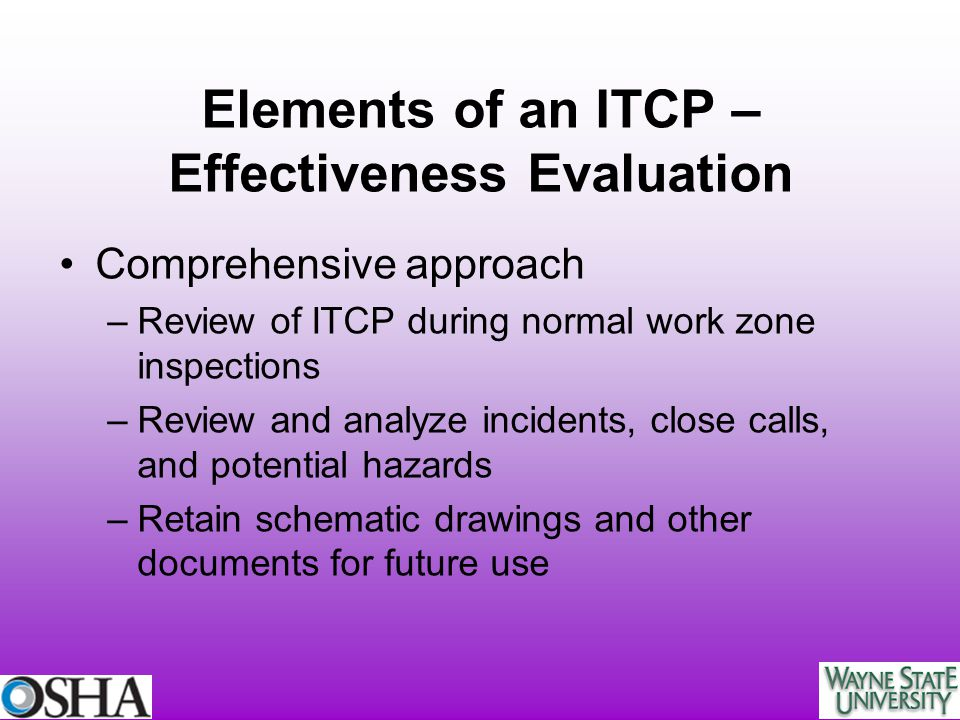 Elements of an ITCP – Effectiveness Evaluation
