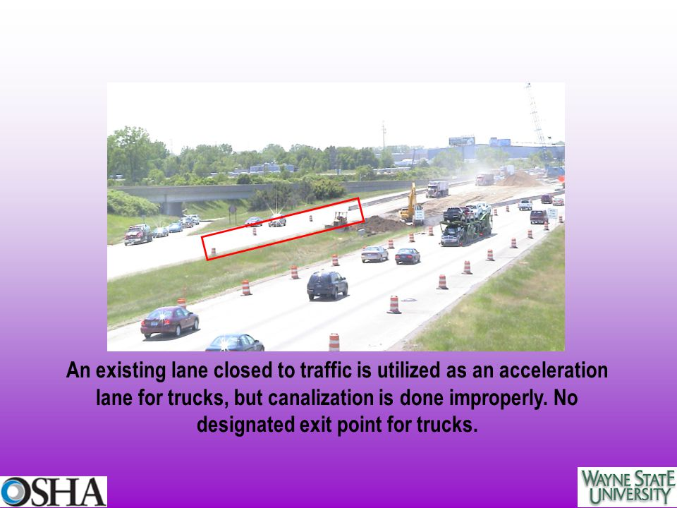 An existing lane closed to traffic is utilized as an acceleration lane for trucks, but canalization is done improperly.