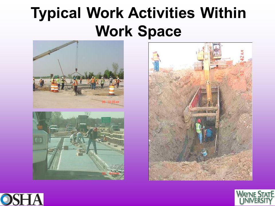 Typical Work Activities Within Work Space