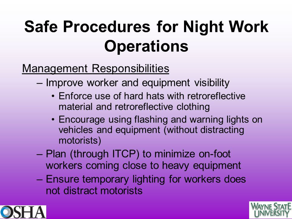 Safe Procedures for Night Work Operations
