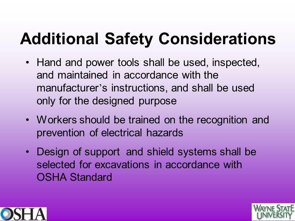 Additional Safety Considerations