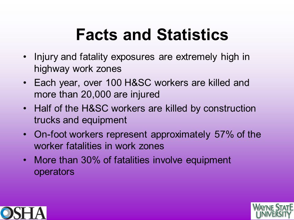 Facts and Statistics Injury and fatality exposures are extremely high in highway work zones.
