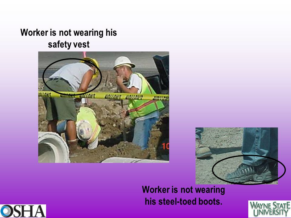 Worker is not wearing his safety vest