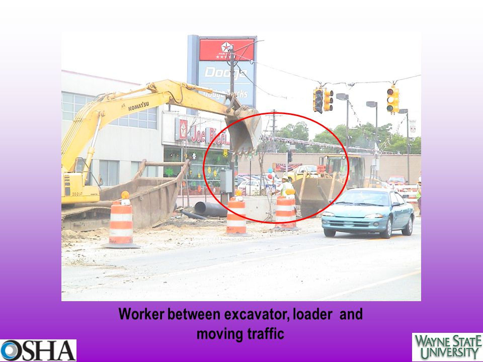 Worker between excavator, loader and moving traffic