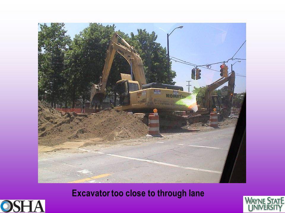 Excavator too close to through lane