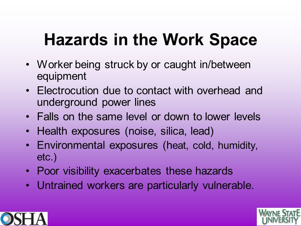 Hazards in the Work Space