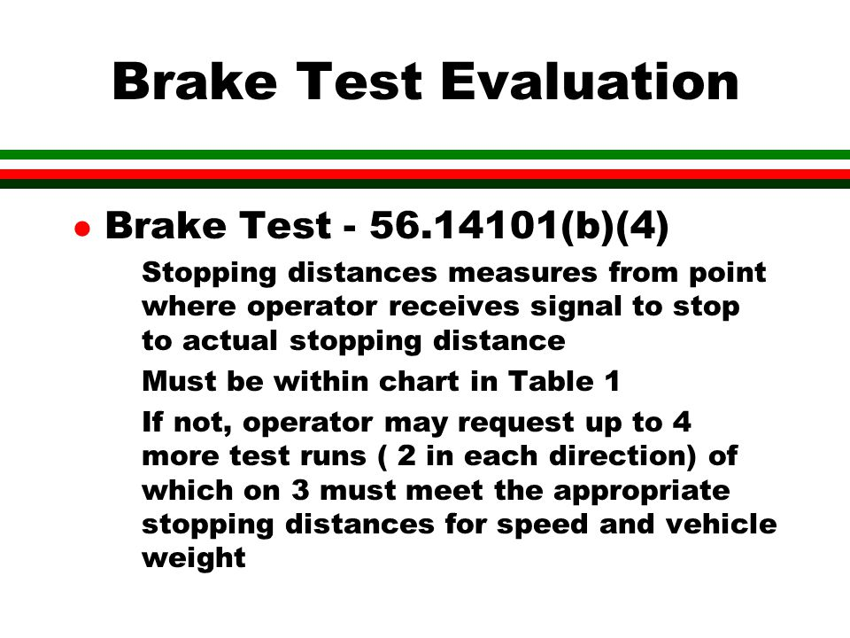 Brake Test Evaluation Brake Test - 56.14101(b)(4)