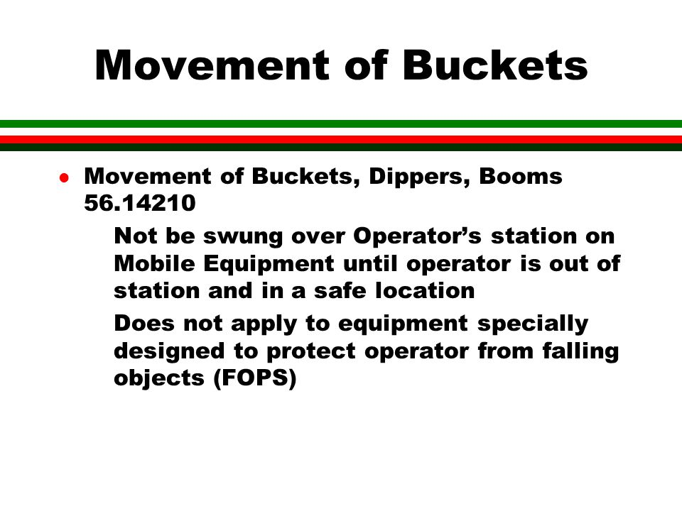 Movement of Buckets Movement of Buckets, Dippers, Booms 56.14210