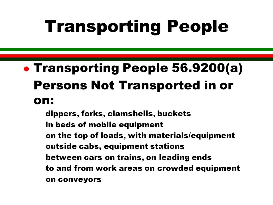 Transporting People Transporting People 56.9200(a)