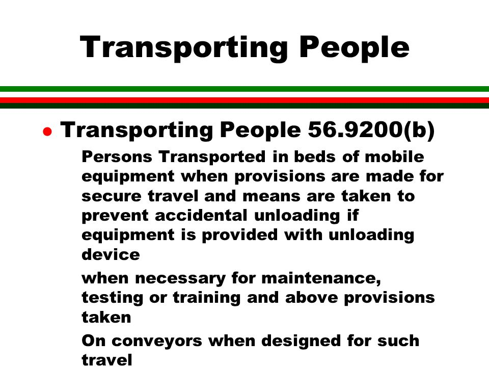 Transporting People Transporting People 56.9200(b)