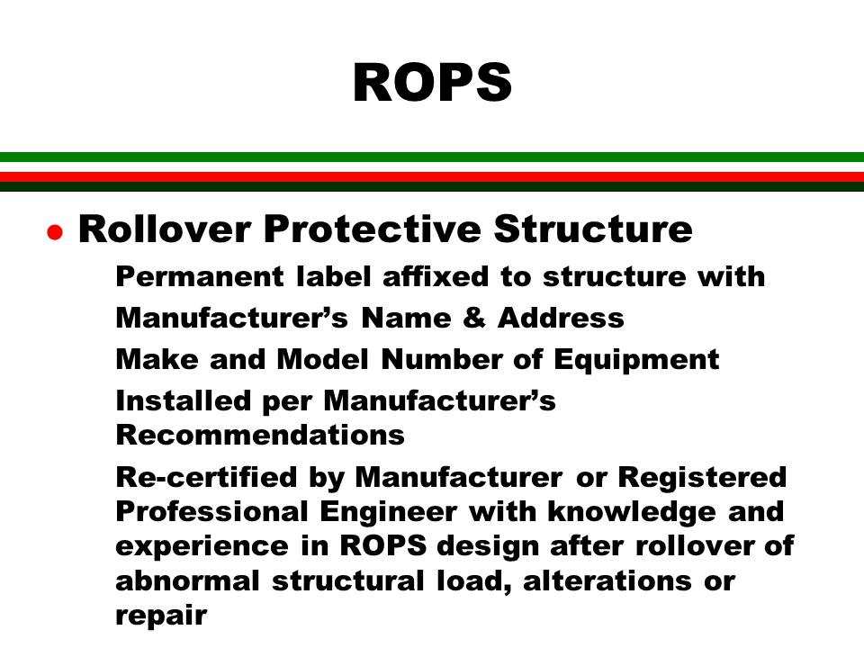 ROPS Rollover Protective Structure