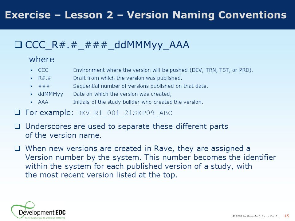 Exercise – Lesson 2 – Version Naming Conventions