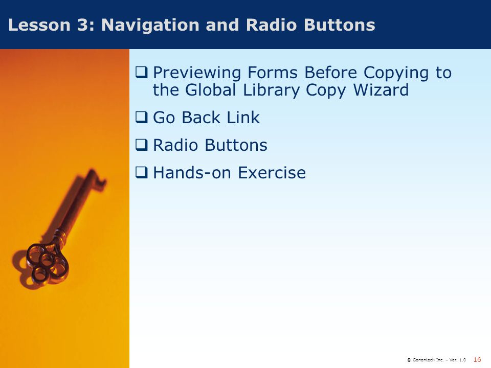 Lesson 3: Navigation and Radio Buttons