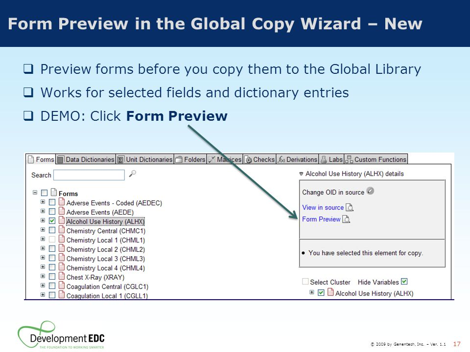 Form Preview in the Global Copy Wizard – New