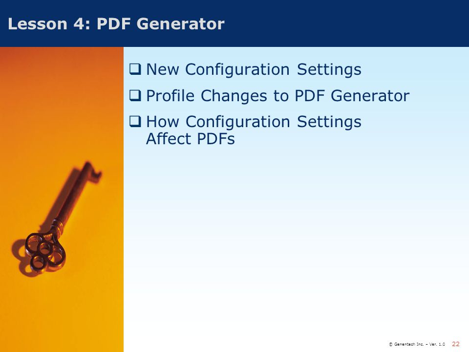 New Configuration Settings Profile Changes to PDF Generator