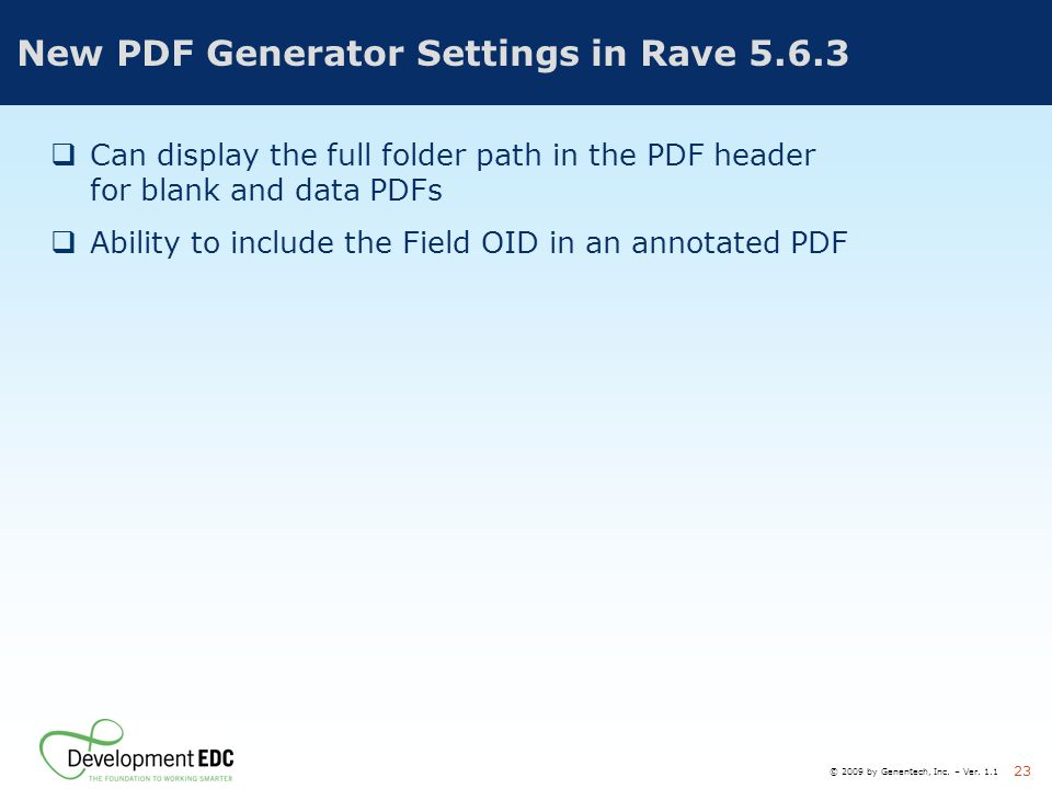 New PDF Generator Settings in Rave 5.6.3