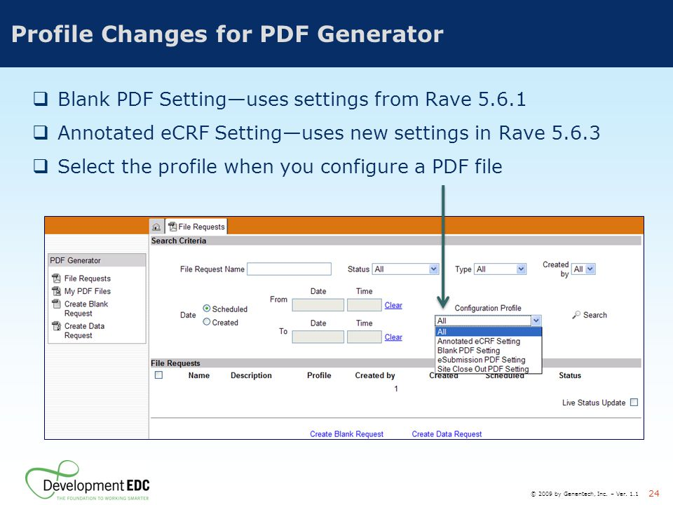 Profile Changes for PDF Generator