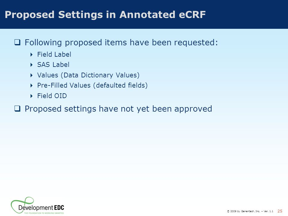 Proposed Settings in Annotated eCRF