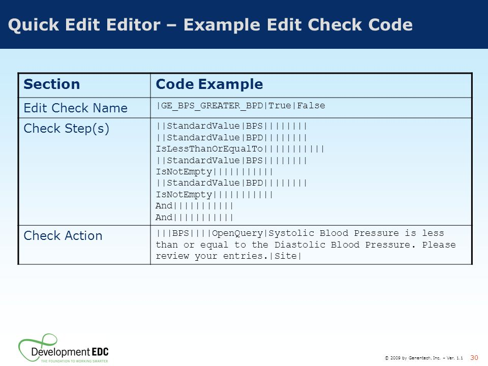 Quick Edit Editor – Example Edit Check Code