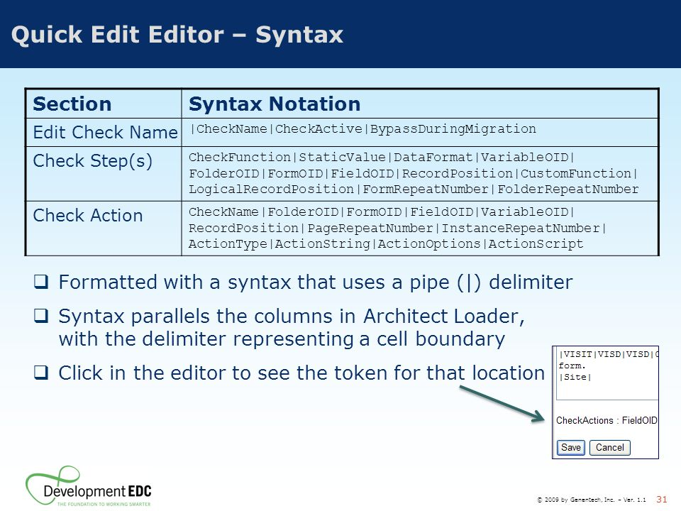 Quick Edit Editor – Syntax