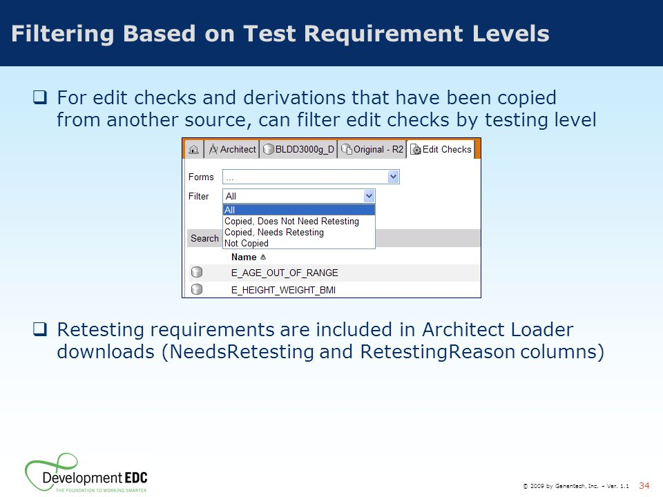 Filtering Based on Test Requirement Levels