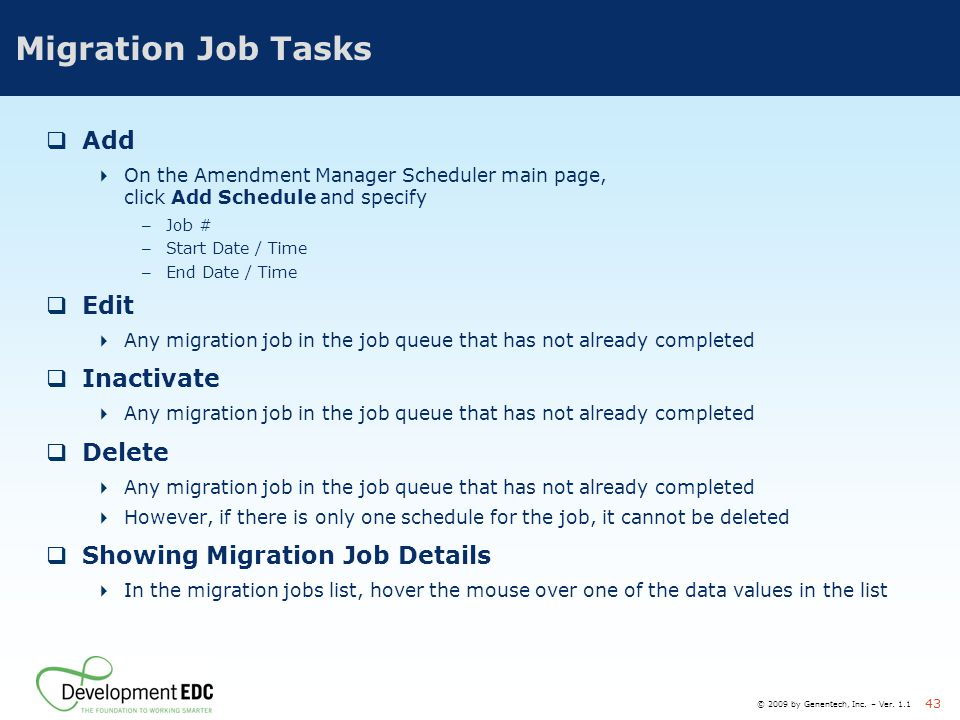 Migration Job Tasks Add Edit Inactivate Delete