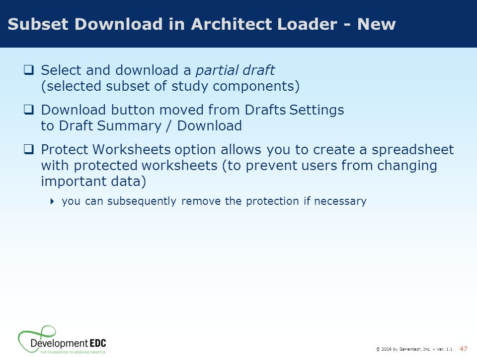 Subset Download in Architect Loader - New