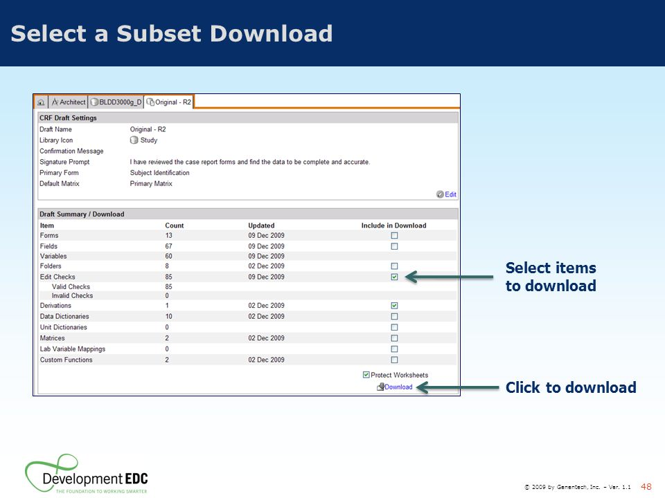 Select a Subset Download