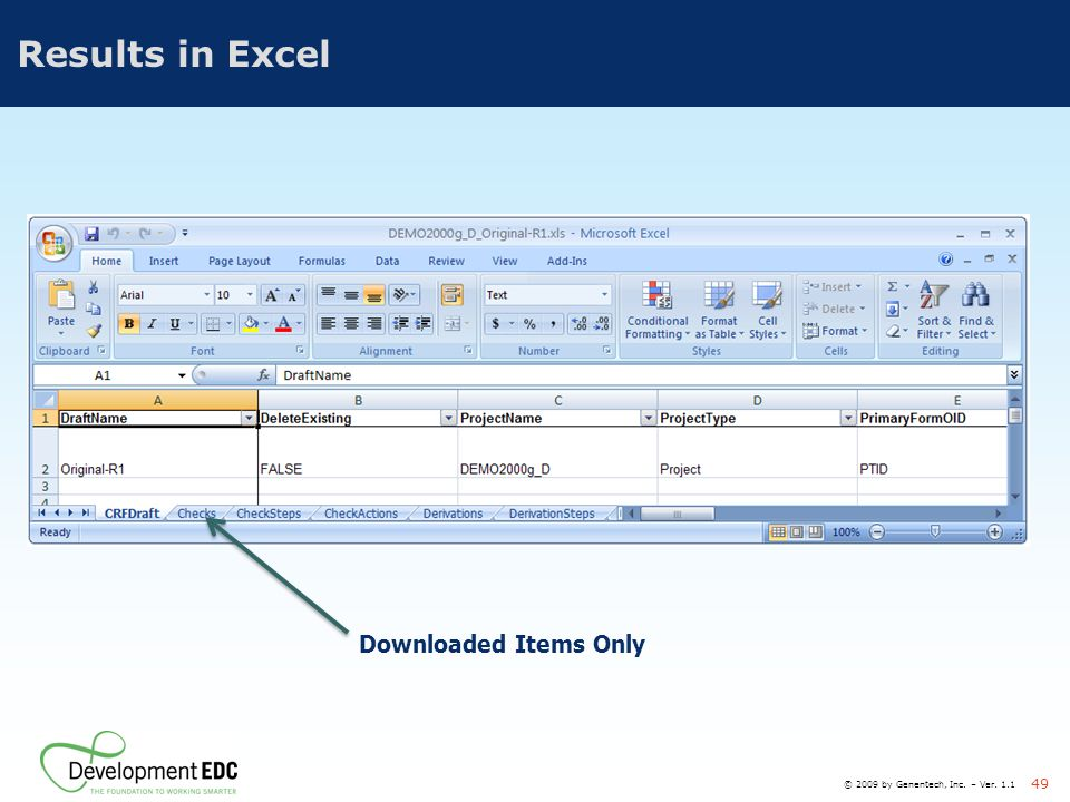 Results in Excel Downloaded Items Only