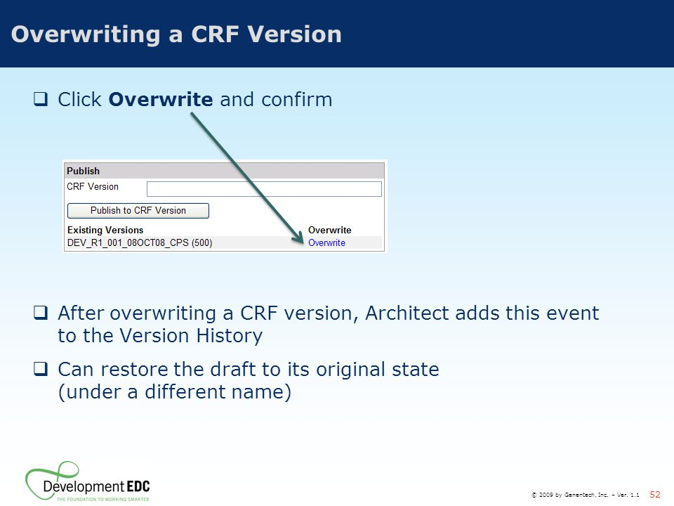 Overwriting a CRF Version