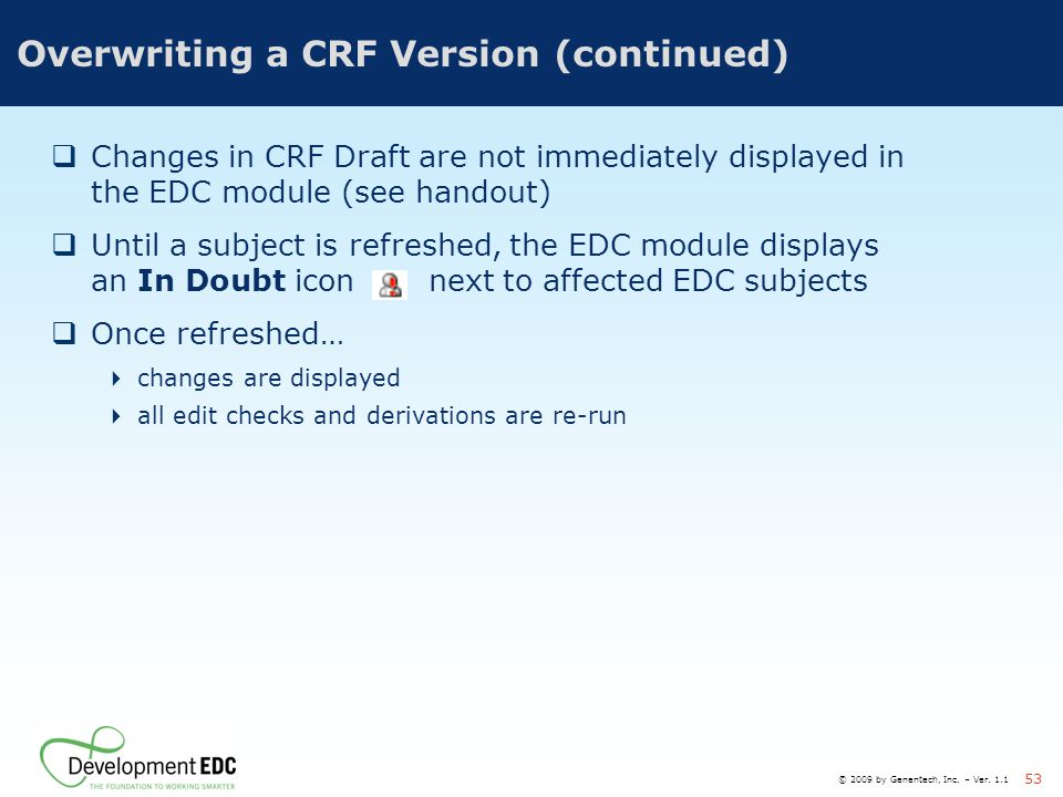 Overwriting a CRF Version (continued)